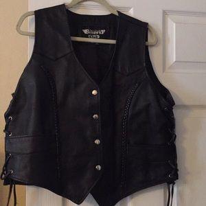 Women's Leather  Motorcycle  Vest.